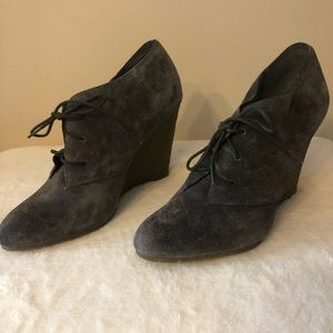 """Sam Edelman gray suede 4"""" wedge booties size 10M"""